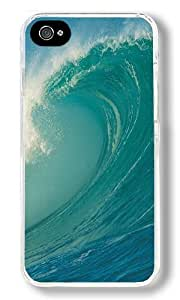 Blue Sea Wave Custom iPhone 4S Case Back Cover, Snap-on Shell Case Polycarbonate PC Plastic Hard Case Transparent