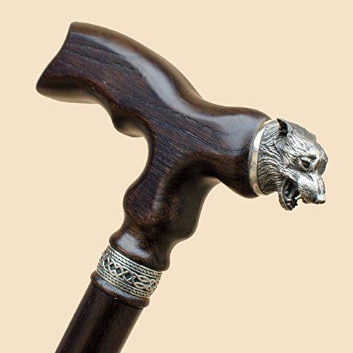 Oil Danish Oak (Custom Wolf Walking Cane for Men Fashionable - Wooden Hand Carved Walking Stick Vintage Fancy Mens Canes - Personalized Length)