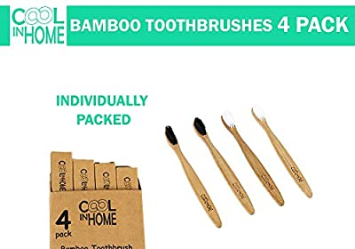 NEW! Premium Bamboo Toothbrush 4pcs, Eco-Friendly Biodegradable Bamboo Wood Toothbrushes, BPA FREE Bristles, 2 White + 2 Charcoal Infused Bristles, Individually Packed + Free Teeth Cleaning Wipes