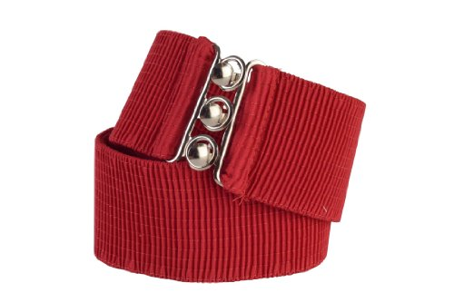 Square Up Medium, Red, 2.25 Inch Wide Elastic Fabric Stretch Cinch Belt with 3 Ring Clasp