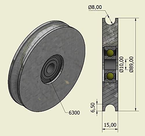 2 x Pieces Sliding gate Wheel Pulley Wheel 90 mm Round Groove Steel Wheel U Shape R90-8-10 8 mm Groove-10 mm Bearing