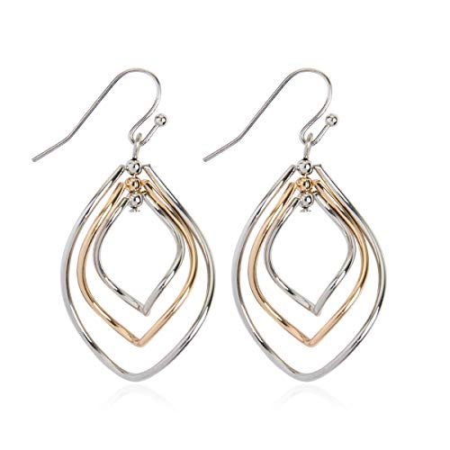 Lightweight Geometric Cut-Out Drop Earrings - Simple Metallic Open Hoop Wire Hook Dangles Teardrop, Oval, Kite, Petal (Triple Petal - Silver Gold)