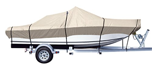 iCOVER Trailerable Boat Cover- Water Proof Heavy Duty,Fits V-Hull,Fish&Ski,Pro-Style,Fishing Boat,Runabout,Bass Boat,up to 14ft-15ft Long and 90