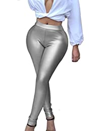 Wet Look Leggings For Women Stretchy Bodycon Ankle...