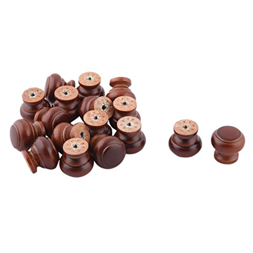 uxcell Wood Household Door Window Cabinet Cupboard Pull Knob Handgrip 17pcs Dark Brown by uxcell