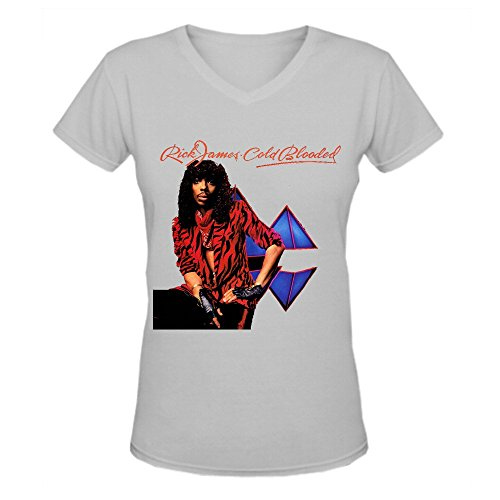 Bunny Angle Rick James Cold Blooded Funny Women V-Neck T Shirts Grey