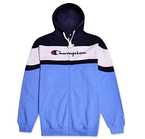 Champion Mens Big & Tall Color Block Hoodie Navy White Candid Blue X-Large Tall