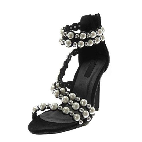 Multi Montante Bride 10 Chaussure Aiguille Clouté Haut Lanière Perle Noir Femme Cheville Sandale Stiletto Talon cm Escarpin Mode Angkorly Padq700