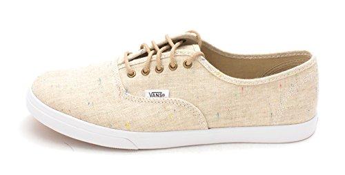 Vans Womens Authentic Lo Pro Canvas Low Top Lace, Speckle Linen/Tan, Size 10.0