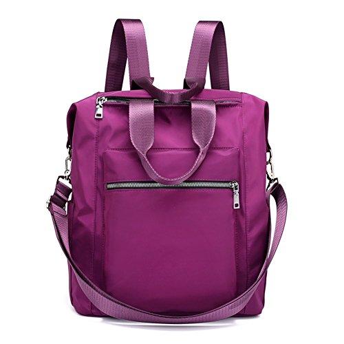 Mynos Backpack Women Casual Shoulder Bag Multifunction Waterproof Travel Rucksack Purse and Handbag (Purple) by Mynos