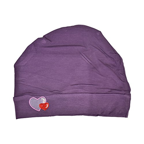 Womens Soft Sleep Cap Comfy Cancer Hat with Hearts Applique -Purple