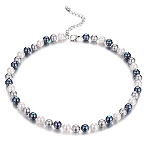 12mm Beaded Necklace - Bulinlin Beaded Strand Pearl Choker Necklace - Fashion Jewelry Birthday Gifts for Women Girls (12-8mm Grey)