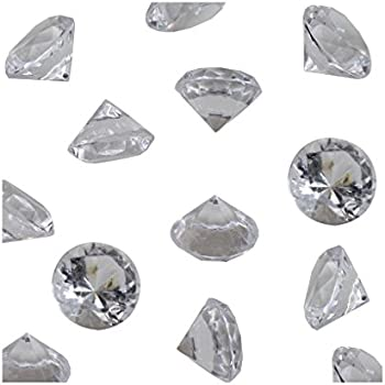 Clear Acrylic Diamond Vase Fillers 1 Pound - 240 pcs 3/4 Inch Wedding Party Event Banquet Birthday Decoration Crystals Gem Table Scatters (Clear, 240 pcs)