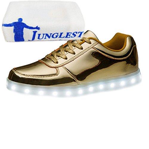 [Present:small towel]JUNGLEST® 7 Farbe USB Aufladen LED Leuchtend Sport Schuhe Sportschuhe Sneaker Turnschuhe für Unisex-Erwach Gold Low-Top Ue08y