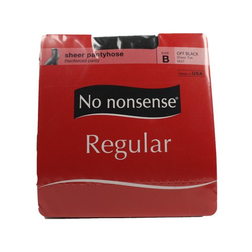 No Nonsense Pantyhose, B, Off Black, Regular, Sandalfoot (Pack of 2)