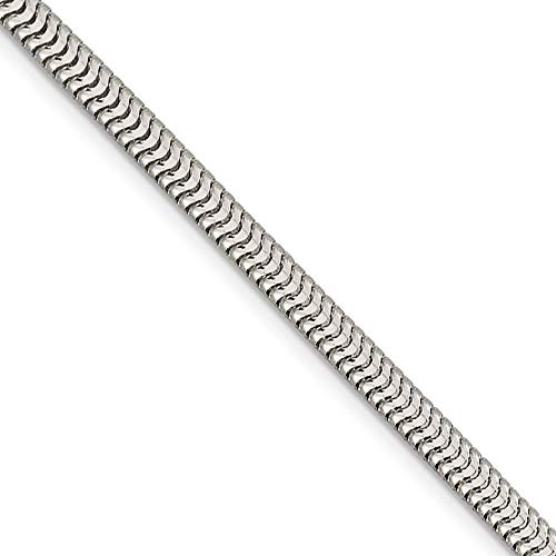 (4mm, Sterling Silver Round Solid Snake Chain Necklace, 24 Inch)