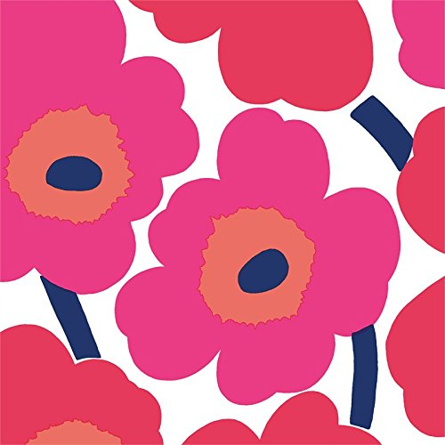 Ideal Home Range 20-Count Paper Cocktail Napkins, Red Unikko (Boston Flower Market Hours)