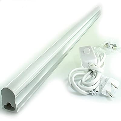 QUANS 4-Pack 22.5inch T5 LED Integrated Tube Light Fixture Bar for Utility Shop, Basement, Ceiling, Kitchen Counter, Under Cabinet Lighting, Pack of 4 Cool White 6000-6500K