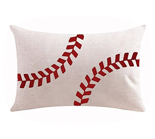 Andreannie Classic Red Baseball Design World Cup Cotton Linen Waist Lumbar Pillow Case Cushion Cover Personalized Home Office Decorative Rectangle 12 X 20 (Arch Red Cotton)
