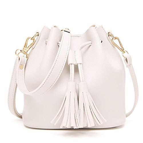 20x11x19cm Black Bolsas borlas de Mujeres White cordón Cubo Bolsas con 8Anq0x7P