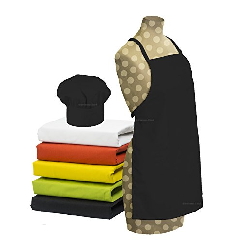 Tessa's Kitchen Kids -Childs Chef Hat Apron Set, Kids Size, Childrens Kitchen Cooking and Baking Wear Kit for those Chefs in Training, Size (S 2-5 Year, Black)