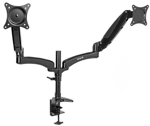 VIVO Black Dual Monitor Gas Spring Counterbalance Height Adjustable Arm Desk Mount Stand - Holds Two 15 to 27 inch LCD Monitor Screens (STAND-V002JB)