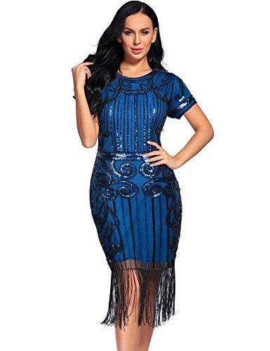 Women's Flapper Dress 1922s Gatsby Sequin Fringe Short Sleeve Cocktail Dresses (XXL, Blue)]()