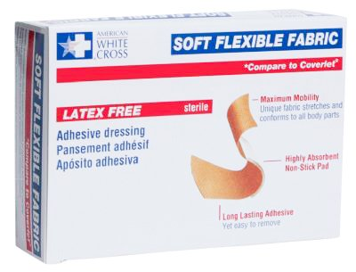 American White Cross Adhesive Soft Flexible Fabric Bandage, 3/4 Inches X 3 Inches Sterile (100)
