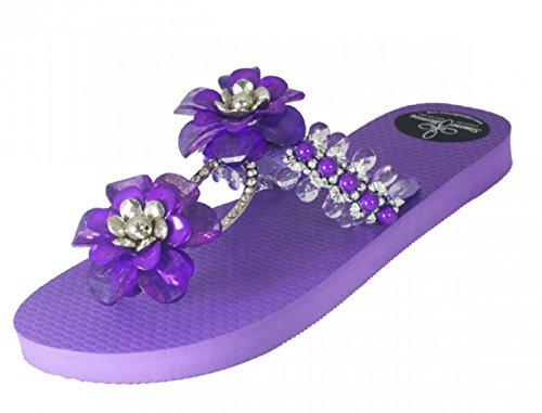 Flops Glamourous Zehentrenner by Exclusivas Flip Simone Chanclas Sandale Luxus Herrera Lila Bella Riemchen Designer Line Eaw4A