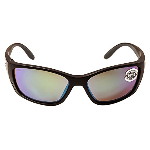 Costa Del Mar Sunglasses - Fisch- Glass / Frame: Black Lens: Polarized Green Mirror Wave 580 ()