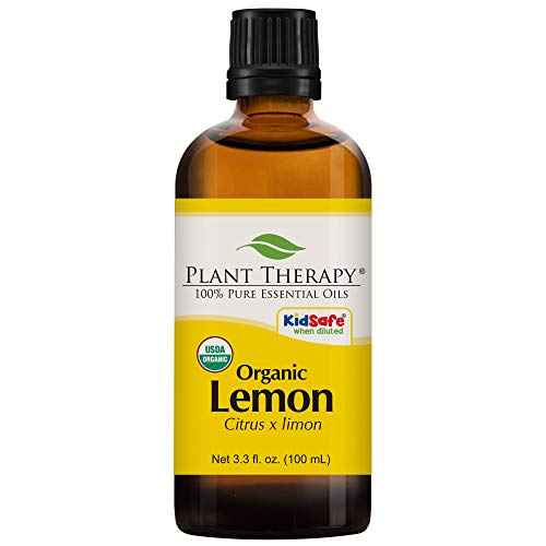 Plant Therapy Lemon Organic Essential Oil | 100% Pure, USDA Certified Organic, Undiluted, Natural Aromatherapy, Therapeutic Grade | 100 Milliliter (3.3 ()