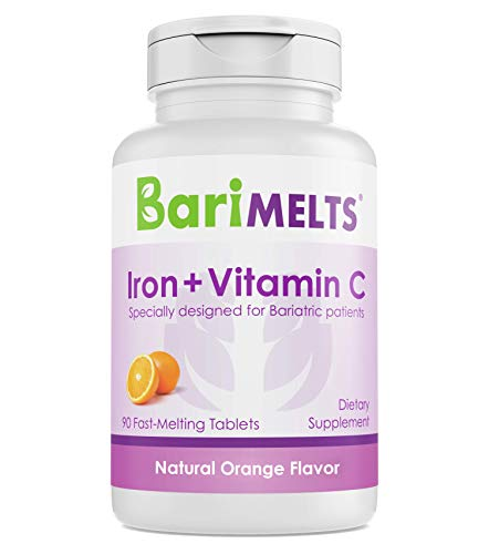 (BariMelts Iron + Vitamin C, Dissolvable Bariatric Vitamins, Natural Orange Flavor, 90 Fast Melting Tablets)