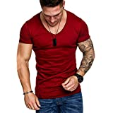Men Muscle T-Shirt Slim Fit V Neck Short Sleeve Blouse Top Active Workout Fitness Shirts (XL, Red)