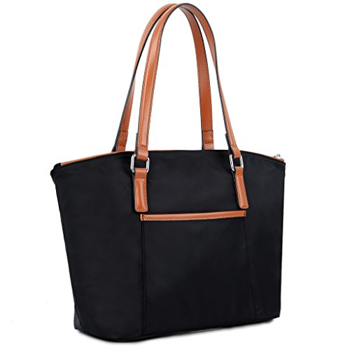YALUXE Women's Portable Lightweight Oxford Nylon Tote Medium Handbag Shoulder Bag Black