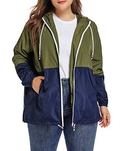 Women's Waterproof Raincoat Outdoor Hooded Rain Jacket Windbreaker Army Green 4XL