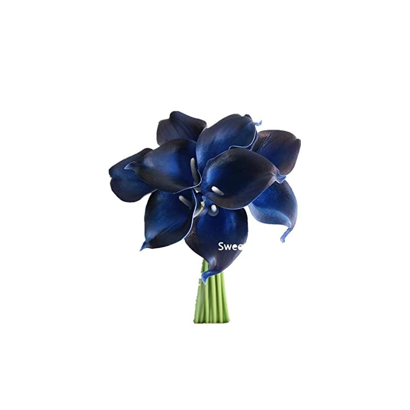 """silk flower arrangements sweet home deco latex real touch 15"""" artificial calla lily 10 stems flower bouquet for home/ wedding (navy blue)"""
