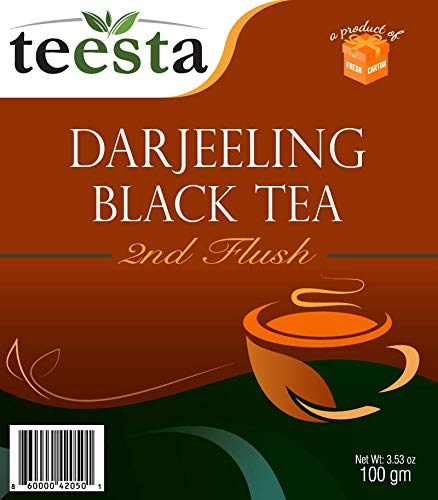 TEESTA - Darjeeling Second Flush Black Tea Leaves | 7.06oz / 200gm - Pack of 2 (each 3.53oz/100gm) | High Energy Teas & Strong Muscatel | Darjeeling Tea Loose Leaf from Single Estate