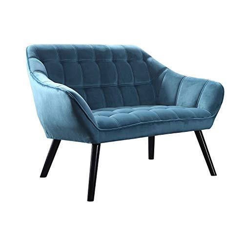 Adec - Olden, Sofa de Dos plazas, sillon de Descanso 2 Personas, Acabado en Tejido Color Verde Aguamarina, Patas de Madera Color Negro, Medidas: 127 cm (Largo) x 75 cm (Ancho) x 77 cm (Alto)