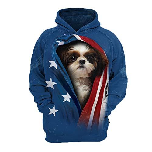 (Animal MASUZIK Men Sweatshirt German Shepherd Pug Poodle Doberman French Bulldog Rottweiler 3D Pets Printed Hoodies Shih tzu XL)