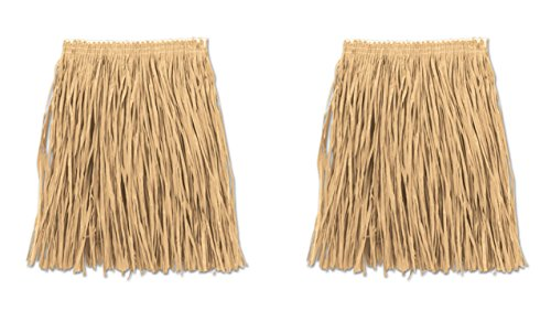Beistle S54581-NAZ2 Adult Mini Hula Skirt, Natural (Raffia Hula Skirt)