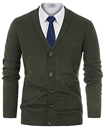 PAUL JONES Men's Casual Thick Knitted Cardigan Sweater Utility Pocket Size S Army Green