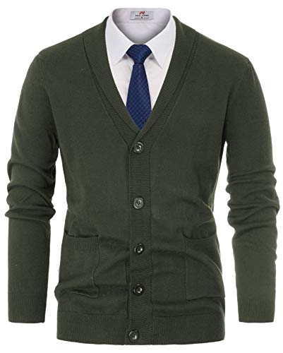 Mens Casual Jacket Cardigans Long Sleeve Button-Down Sweater Size 2XL Army -