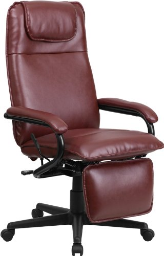 Flash Furniture High Back Burgundy Leather Executive Reclining Swivel Chair with Arms