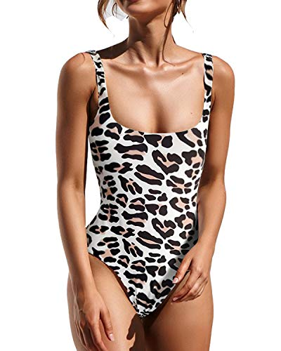 - Lwaoien One Piece Monokini Bikini Swimsuit for Women High Cut Leopard Print Bathing Suits Backless Thong Swimwear Beachwear Leopard (XL)