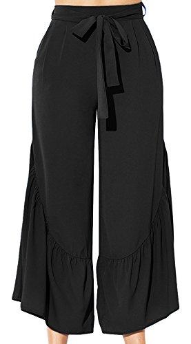 Taille Plissé Respirant 46 Large Long Jambe Confortable Evasé À fr44 Pantalon D'éléphant Femme Xl Feoya Casual Mode Noir Pattes Haute w8nAOIxUq6