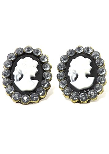 Cameo Gold Tone Earrings - Romantic Cameo Stud Earrings Gold Tone Black Oval Fashion Jewelry