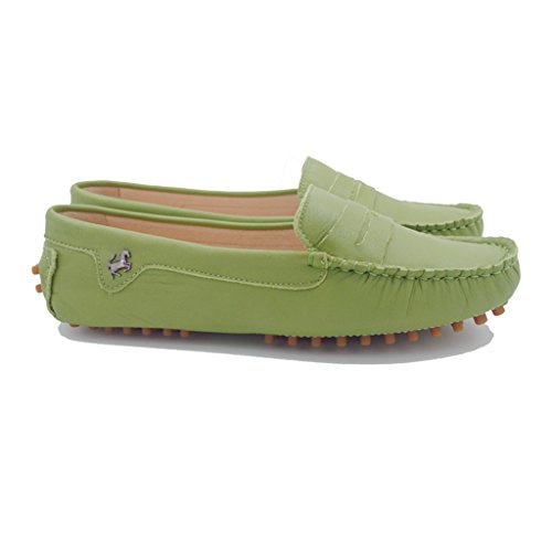 Moccasin Women's Slip Leather Shoes Green Flats on Work Loafer Driving Fashion Doris ERq5Zwx8t8