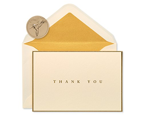 Papyrus Gold Border Thank You Boxed Blank Note Cards, 16-Count (Note Stationery Cream)