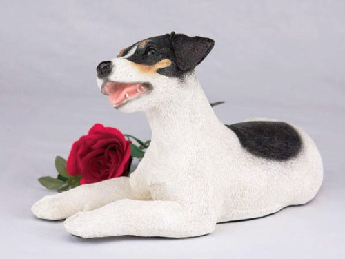 Jack Russell Tri-Color Cremation Pet Urn for secure installation of your beloved pet's ashes indoors or outdoors