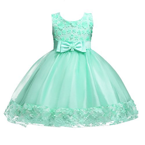 IBTOM CASTLE Baby Girl Short Lace Flower Princess Wedding Party Pageant Birthday Tutu Dress Evening Baptism Christening Gowns(12M-10T) Turquoise 6-7 Years